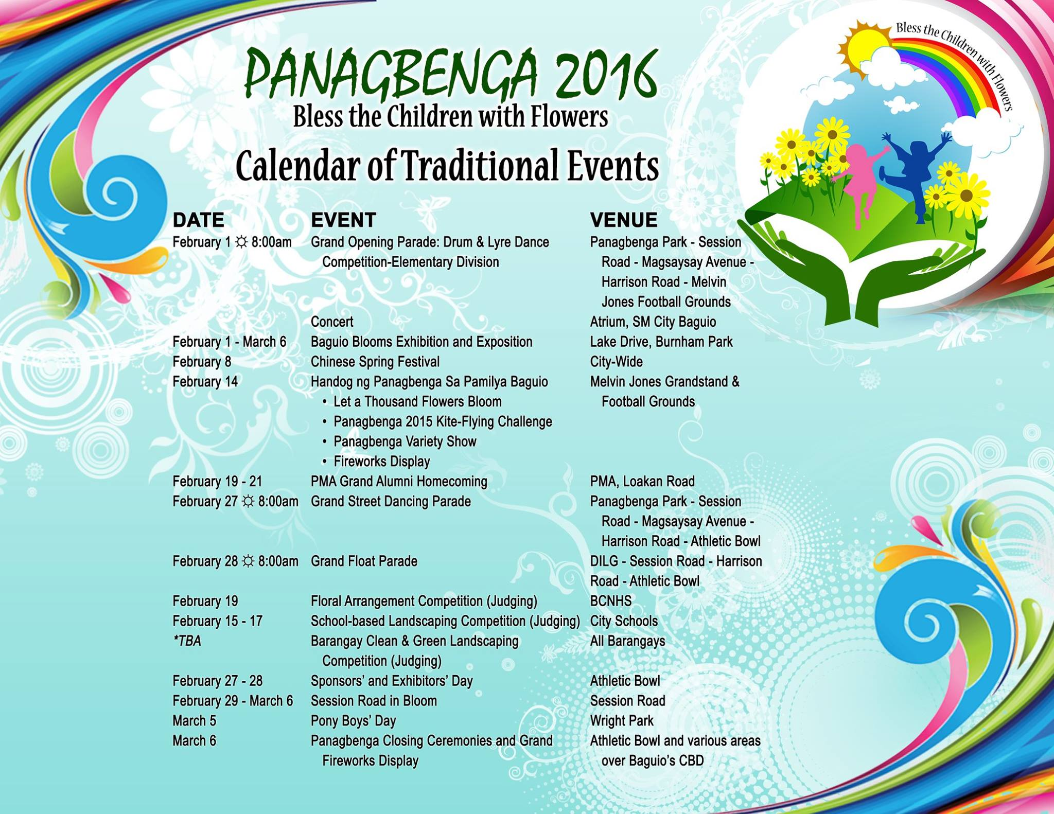 Panagbenga Festival 2016 Schedule of Events and Activities