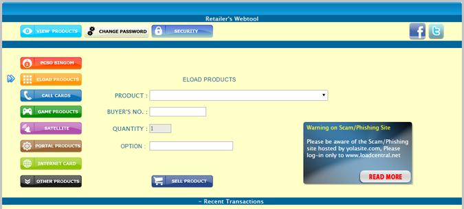 loadcentral retailer webtool